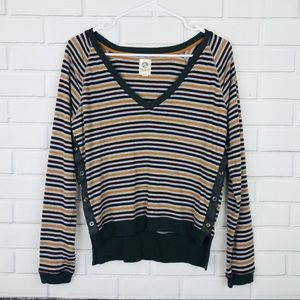 Anthropologie Striped Long Sleeve Top Size Small